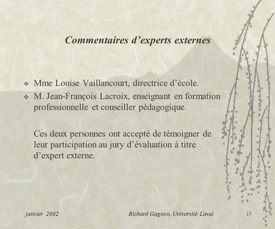 Commentaires d'experts externes