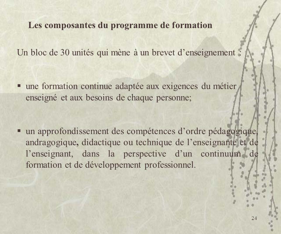 Les composantes du programme de formation