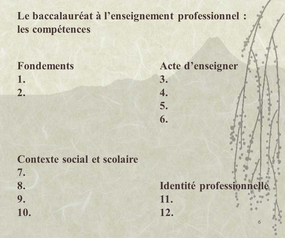 Le baccalauréat à l'enseignement professionnel :