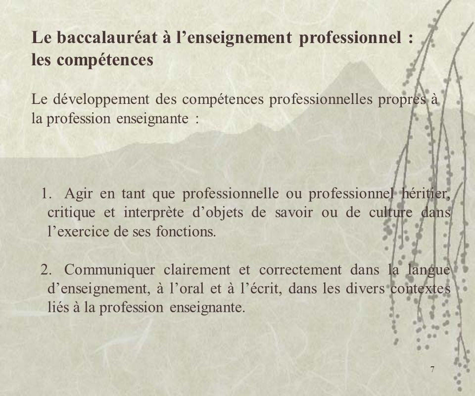 Le baccalauréat à l'enseignement professionnel : les compétences