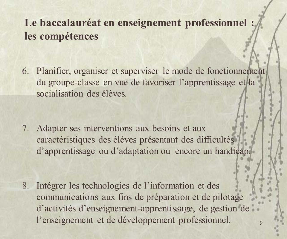 Le baccalauréat en enseignement professionnel : les compétences