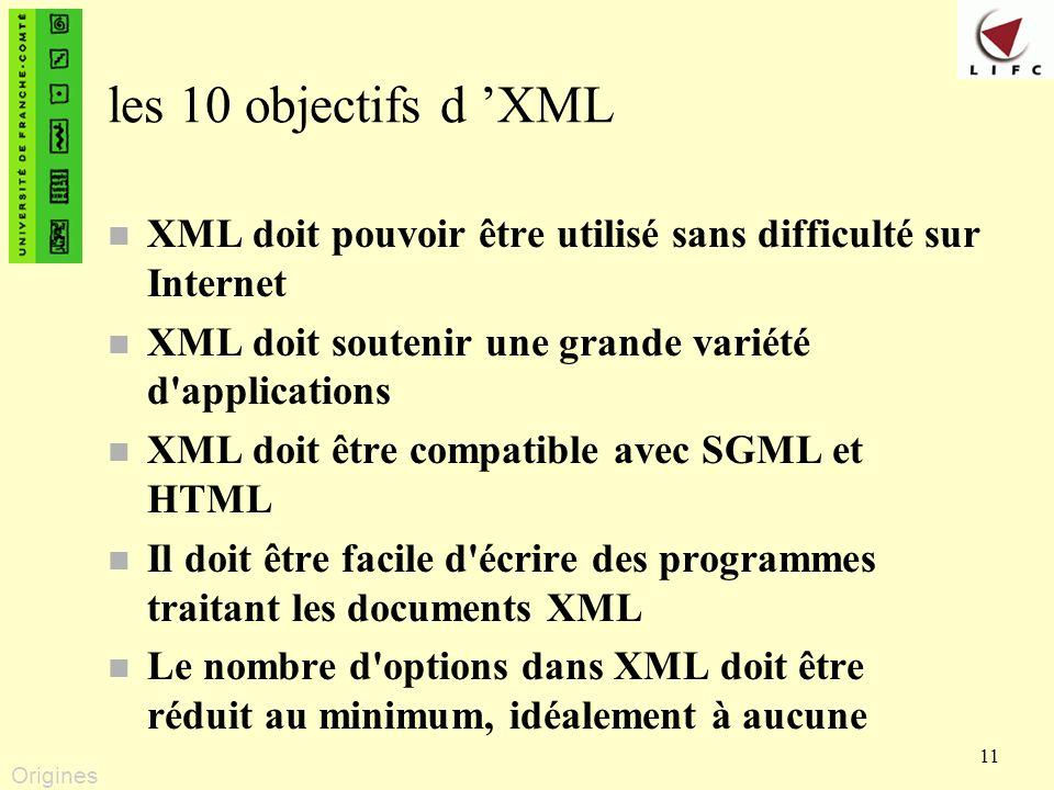 les 10 objectifs d 'XML XML doit pouvoir être utilisé sans difficulté sur Internet. XML doit soutenir une grande variété d applications.
