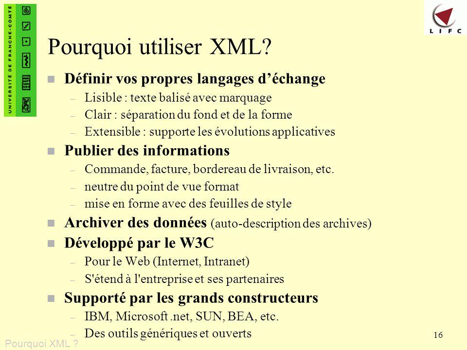 Pourquoi utiliser XML Définir vos propres langages d'échange