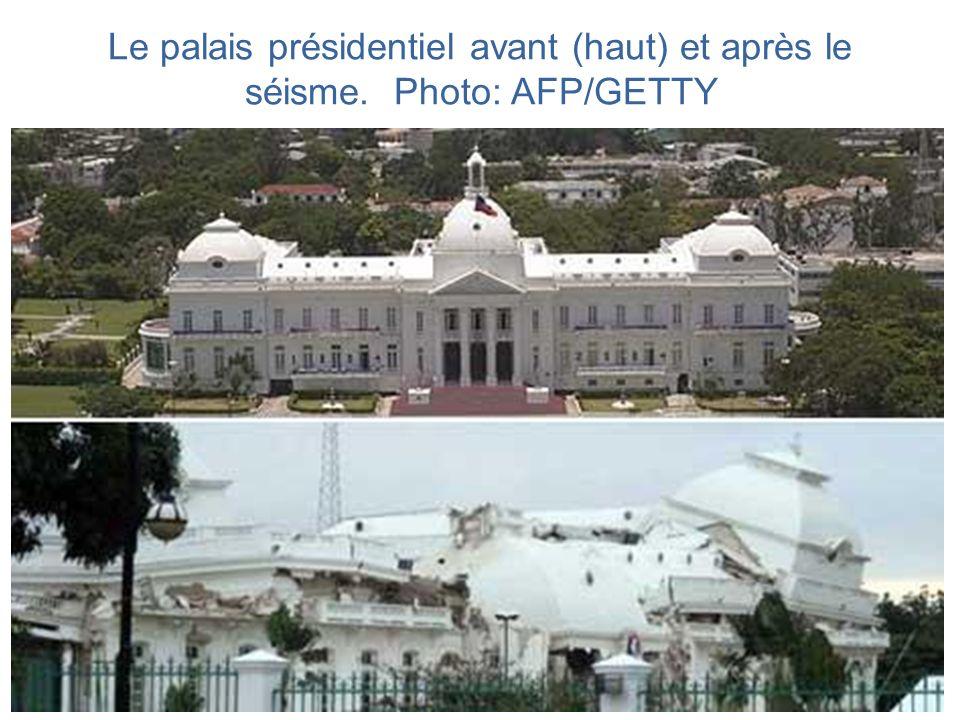 Le palais présidentiel avant (haut) et après le séisme