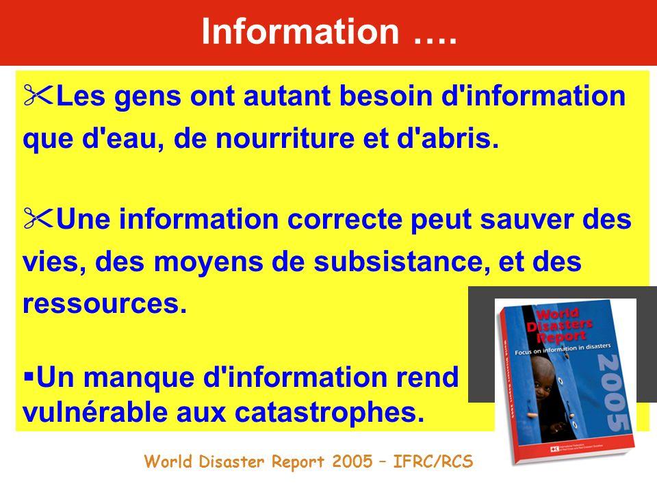 Information …. Les gens ont autant besoin d information que d eau, de nourriture et d abris.