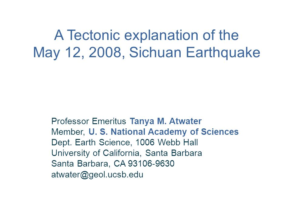 A Tectonic explanation of the May 12, 2008, Sichuan Earthquake