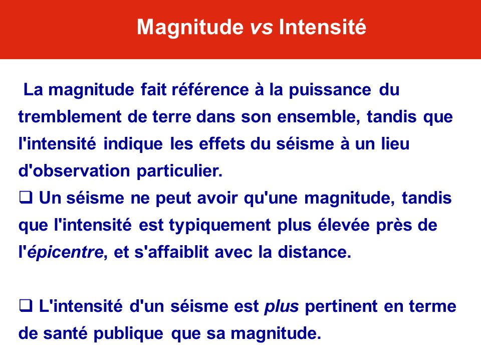 Magnitude vs Intensité