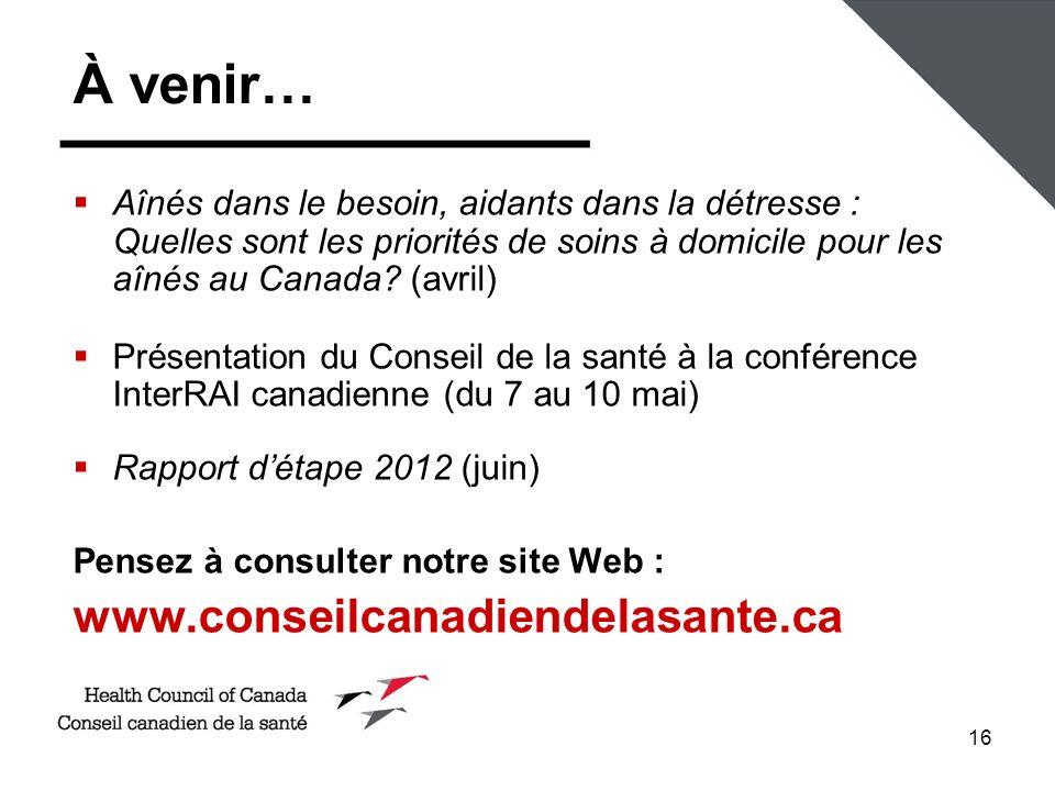 À venir… www.conseilcanadiendelasante.ca