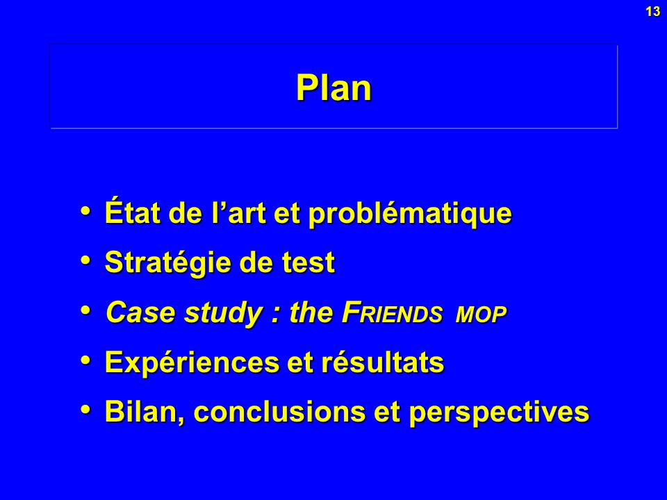 Plan État de l'art et problématique Stratégie de test