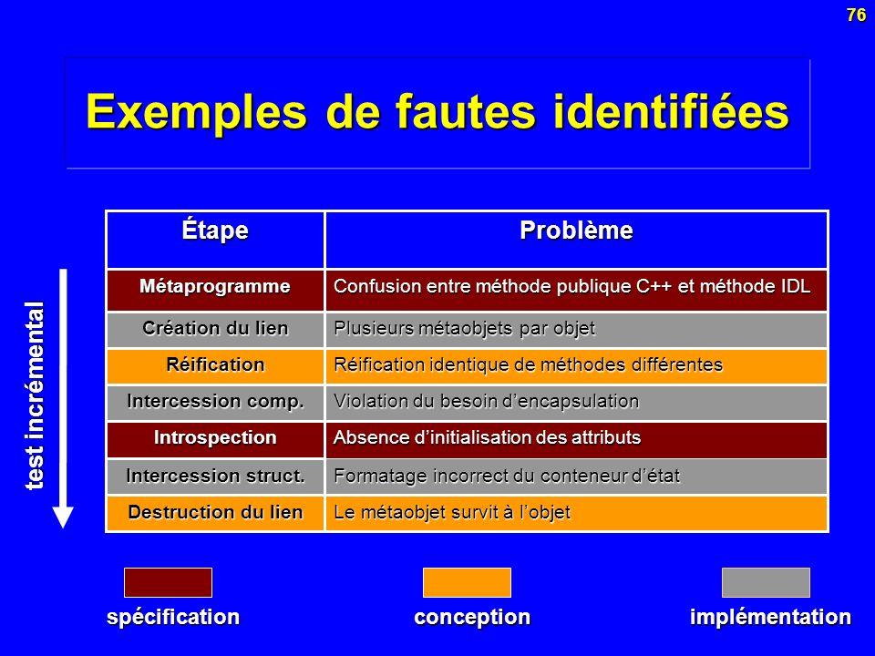 Exemples de fautes identifiées