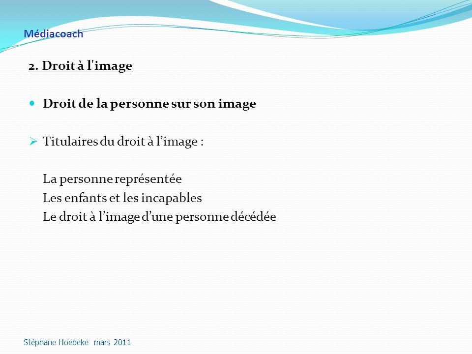 Droit de la personne sur son image Titulaires du droit à l'image :