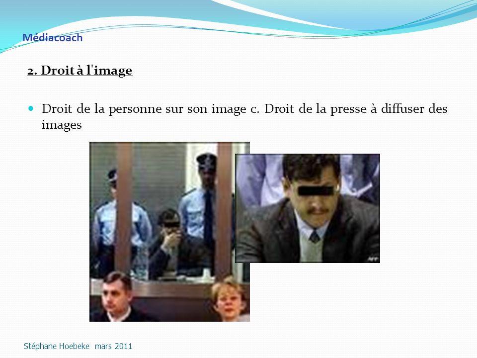 Médiacoach 2. Droit à l image. Droit de la personne sur son image c. Droit de la presse à diffuser des images.