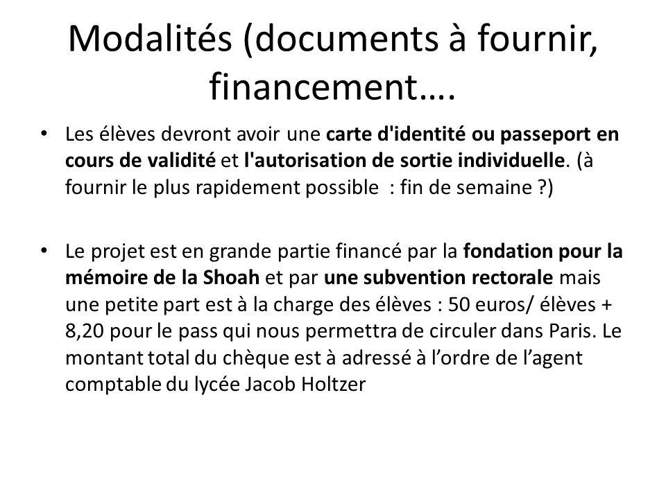 Modalités (documents à fournir, financement….