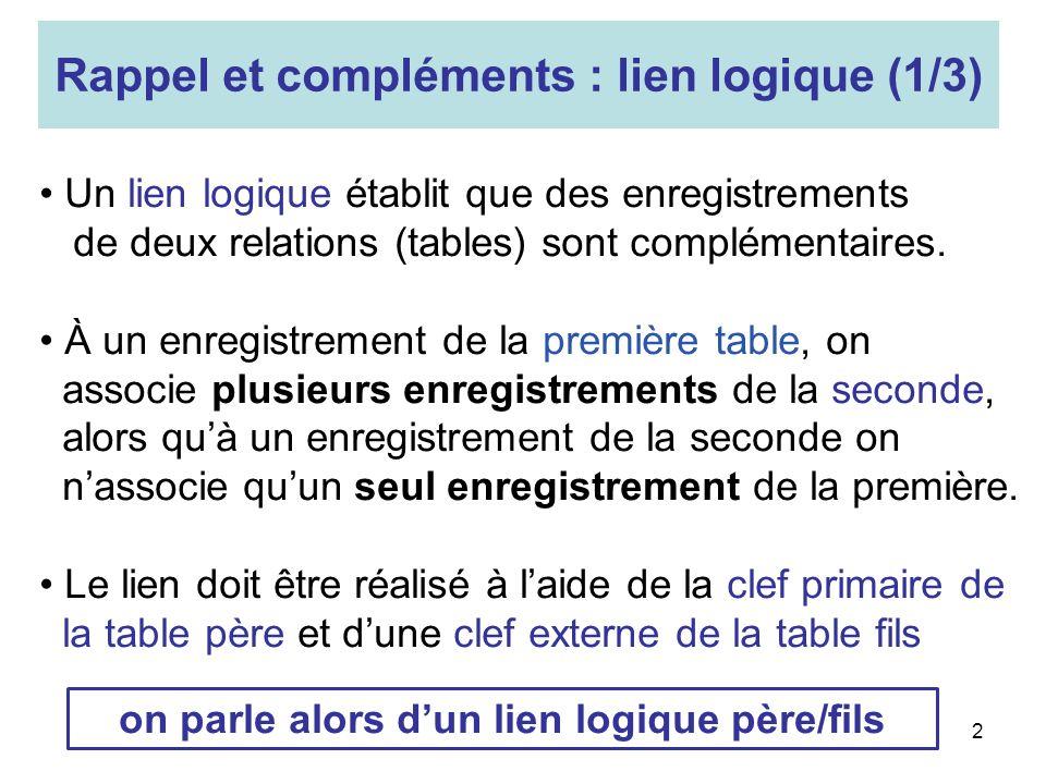 Rappel et compléments : lien logique (1/3)