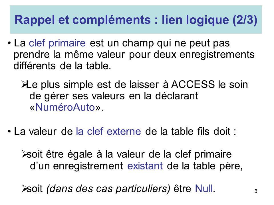 Rappel et compléments : lien logique (2/3)