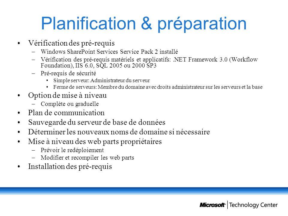 Planification & préparation