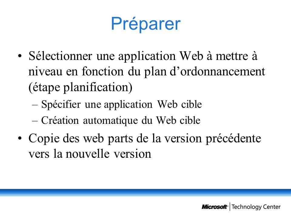 Préparer Sélectionner une application Web à mettre à niveau en fonction du plan d'ordonnancement (étape planification)