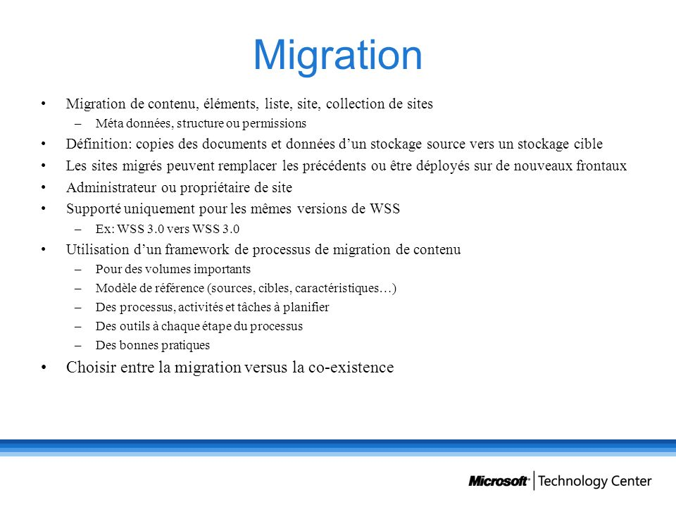 Migration Choisir entre la migration versus la co-existence
