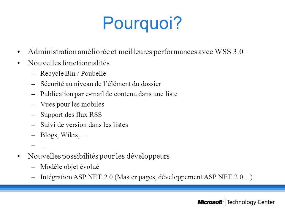 Pourquoi Administration améliorée et meilleures performances avec WSS 3.0. Nouvelles fonctionnalités.