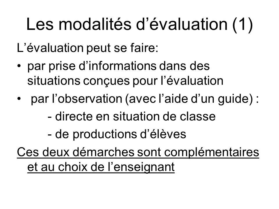 Les modalités d'évaluation (1)