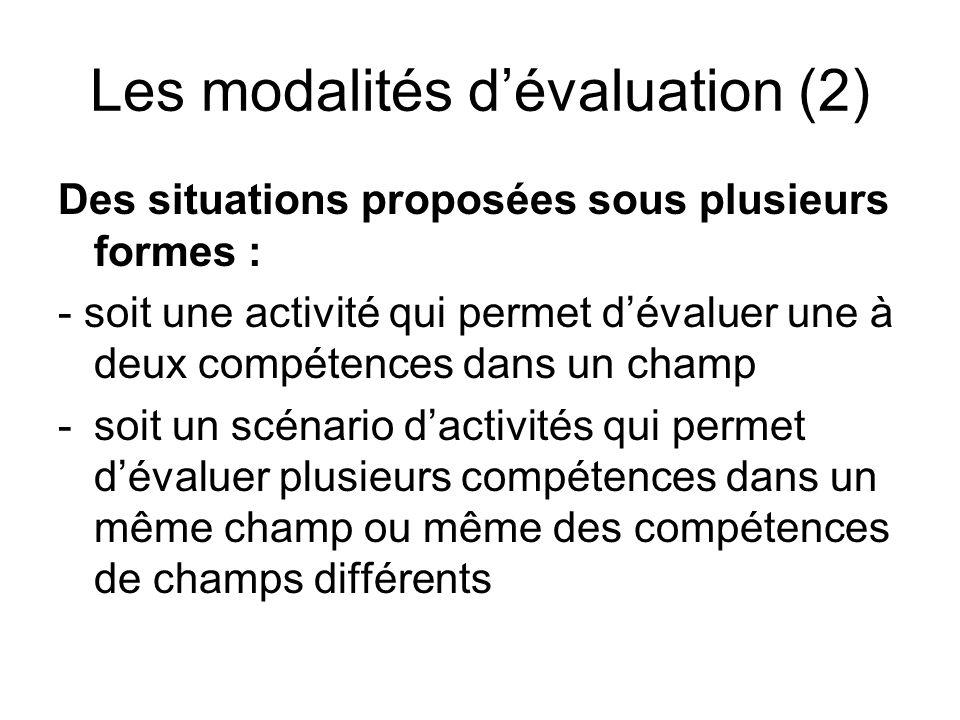 Les modalités d'évaluation (2)