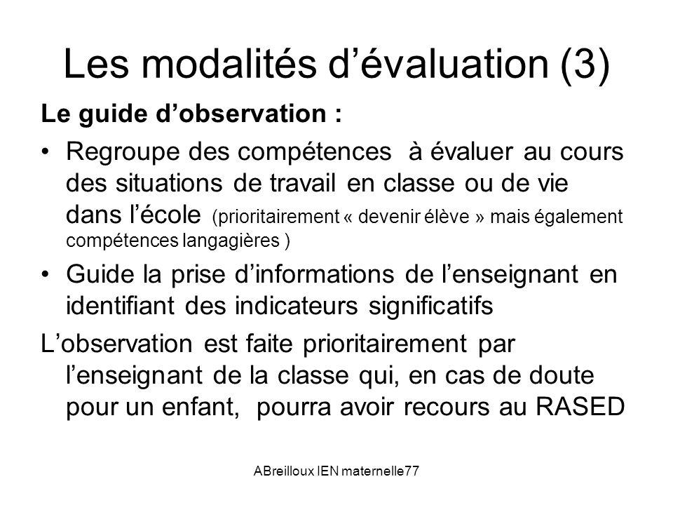 Les modalités d'évaluation (3)