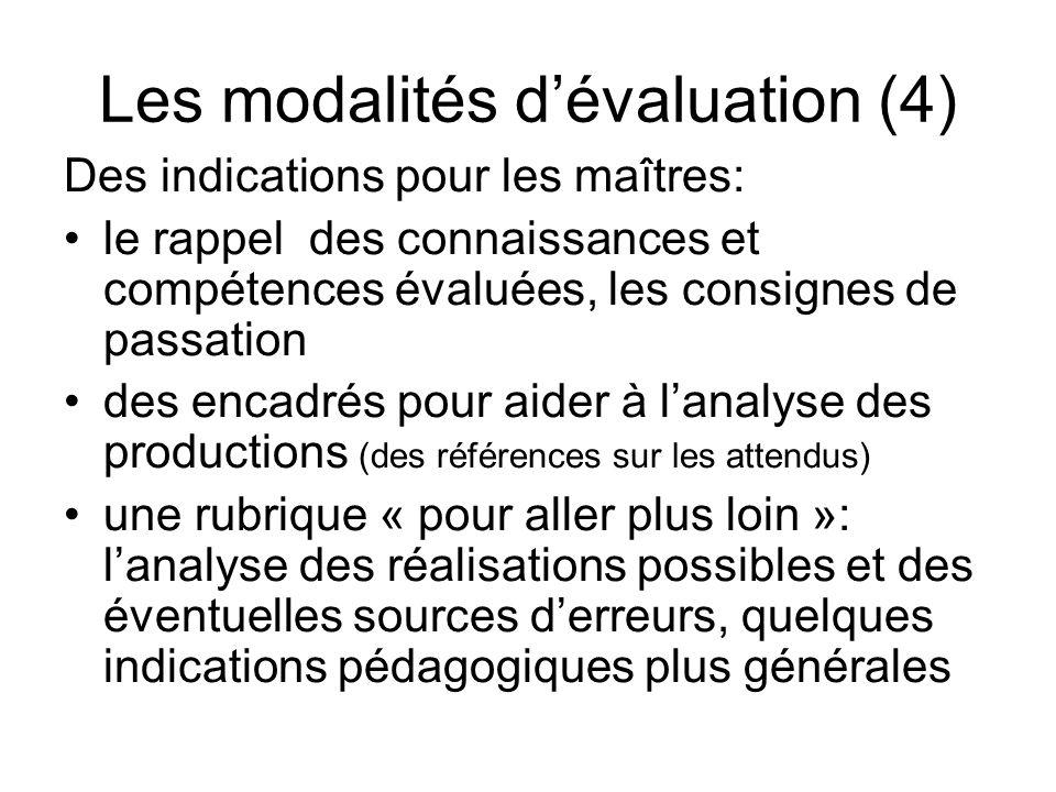 Les modalités d'évaluation (4)