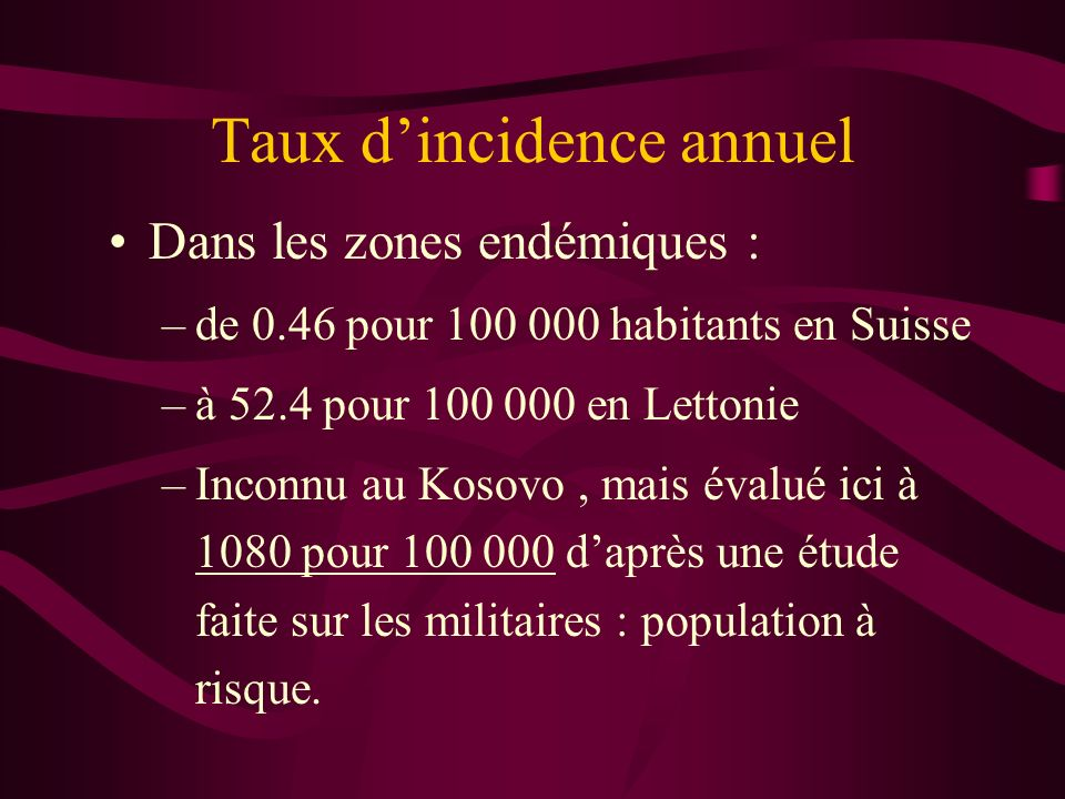 Taux d'incidence annuel