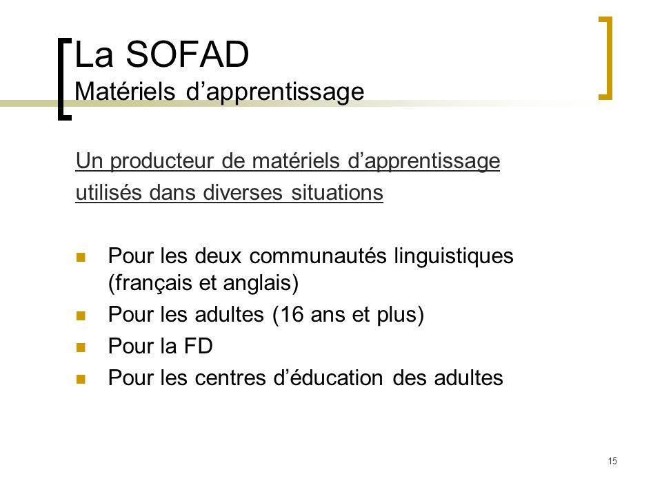 La SOFAD Matériels d'apprentissage
