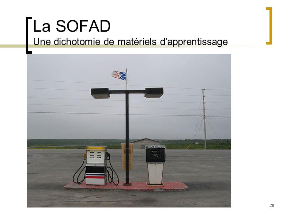 La SOFAD Une dichotomie de matériels d'apprentissage