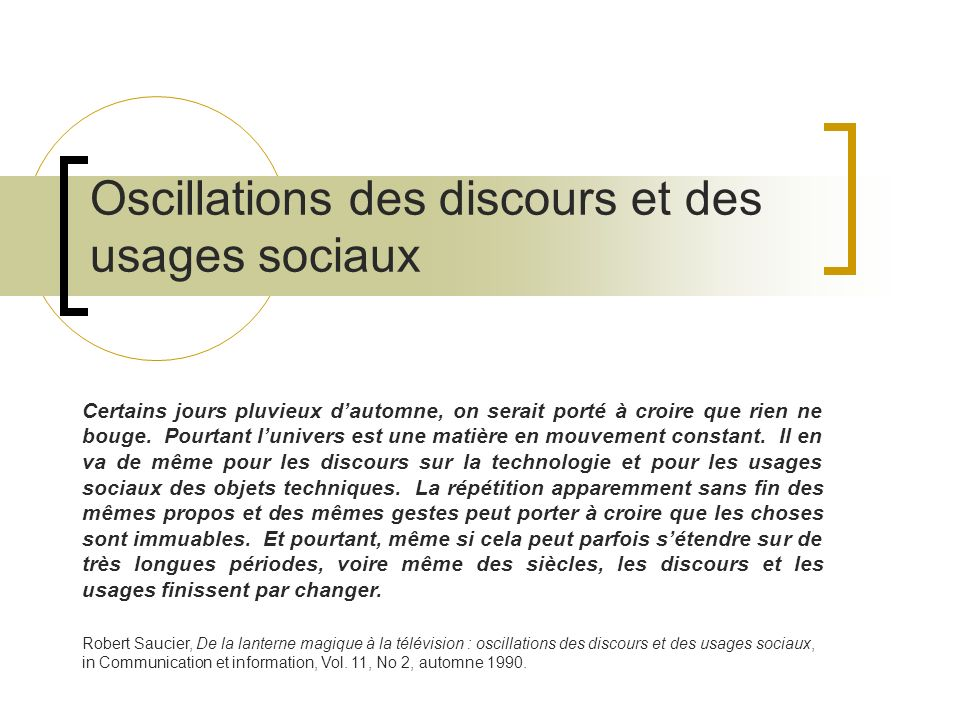 Oscillations des discours et des usages sociaux