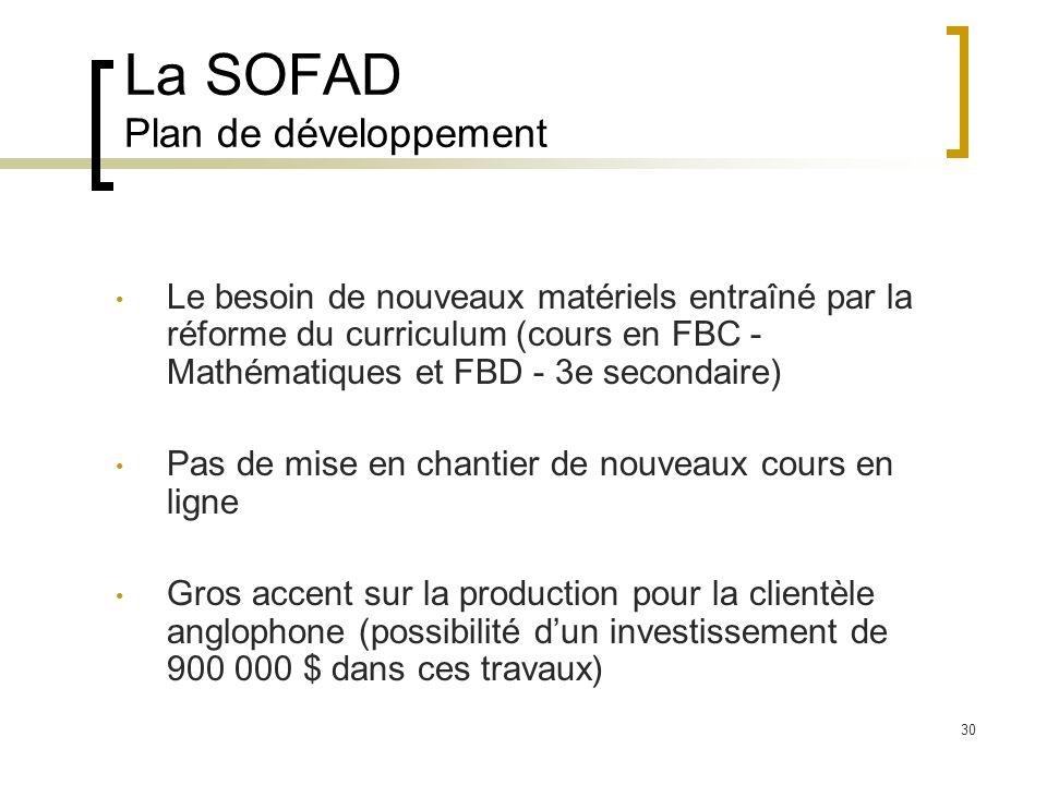 La SOFAD Plan de développement