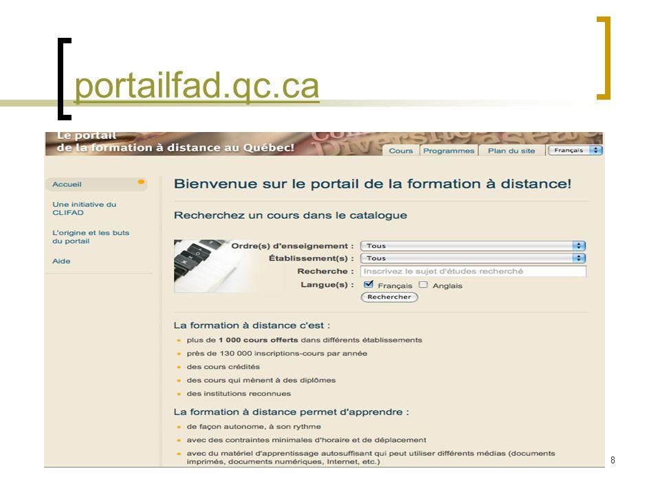 portailfad.qc.ca Saisie de la page d'accueil du Portail