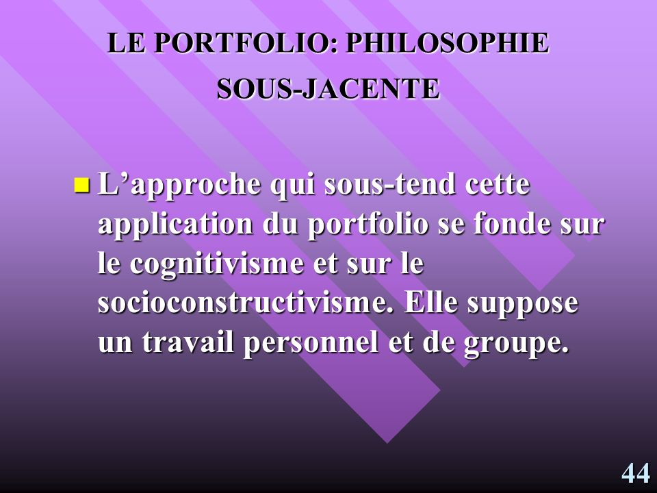 LE PORTFOLIO: PHILOSOPHIE SOUS-JACENTE