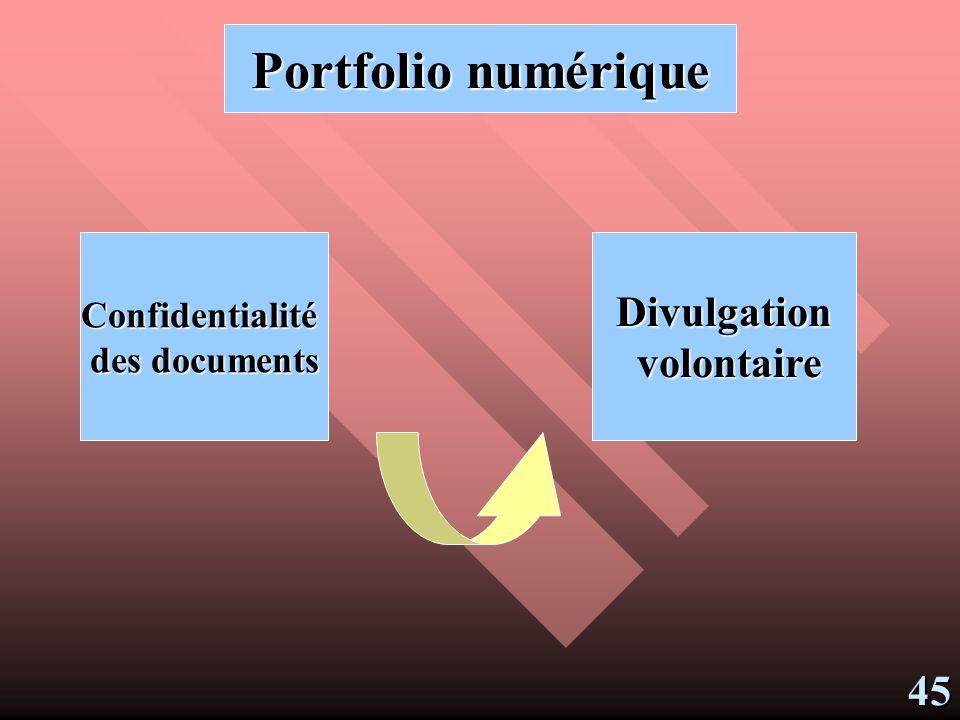 Portfolio numérique Divulgation volontaire 45 Confidentialité