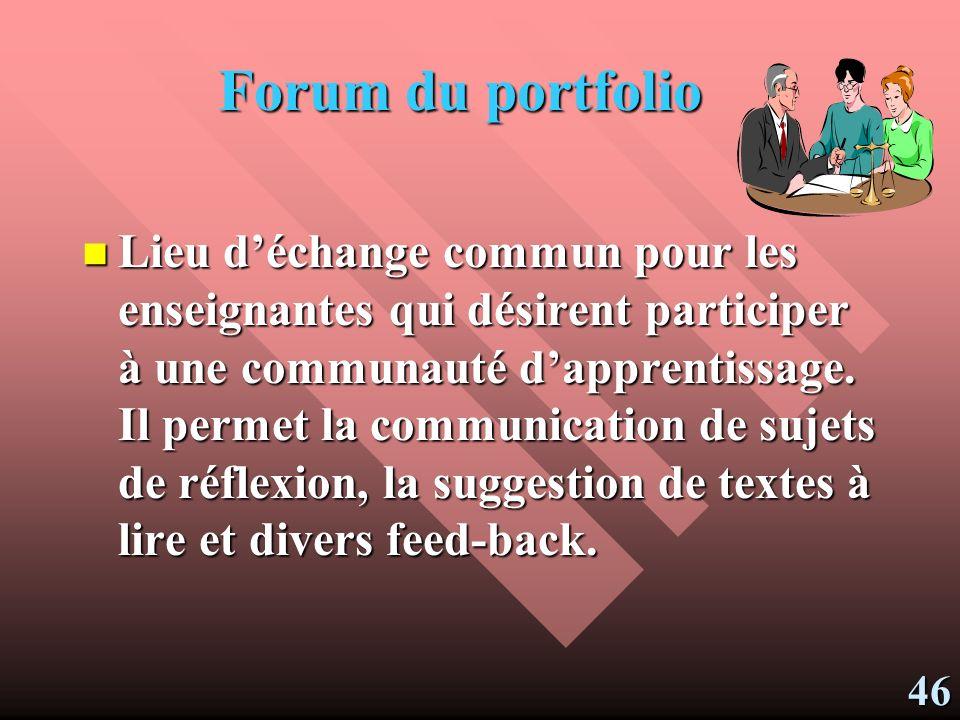 Forum du portfolio