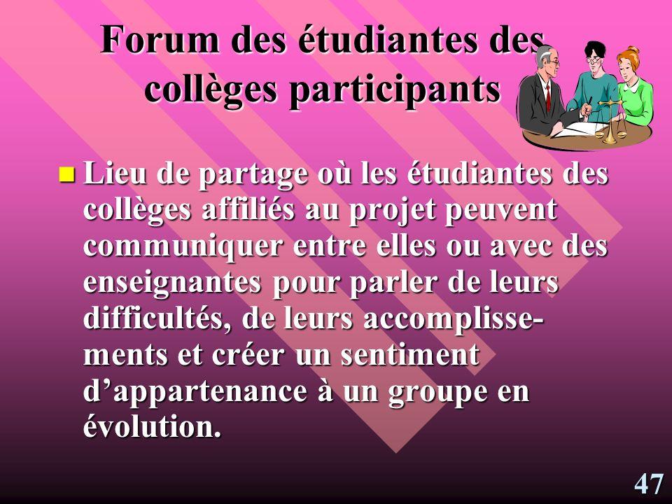Forum des étudiantes des collèges participants