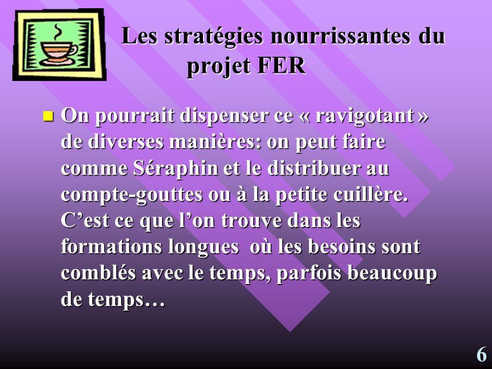 Les stratégies nourrissantes du projet FER