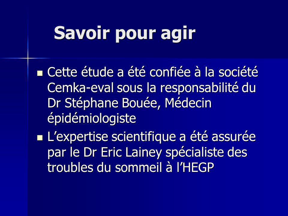 Savoir pour agir Cette étude a été confiée à la société Cemka-eval sous la responsabilité du Dr Stéphane Bouée, Médecin épidémiologiste.
