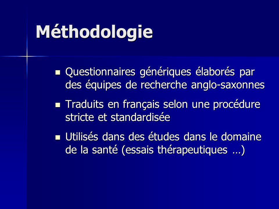 Méthodologie Questionnaires génériques élaborés par des équipes de recherche anglo-saxonnes.