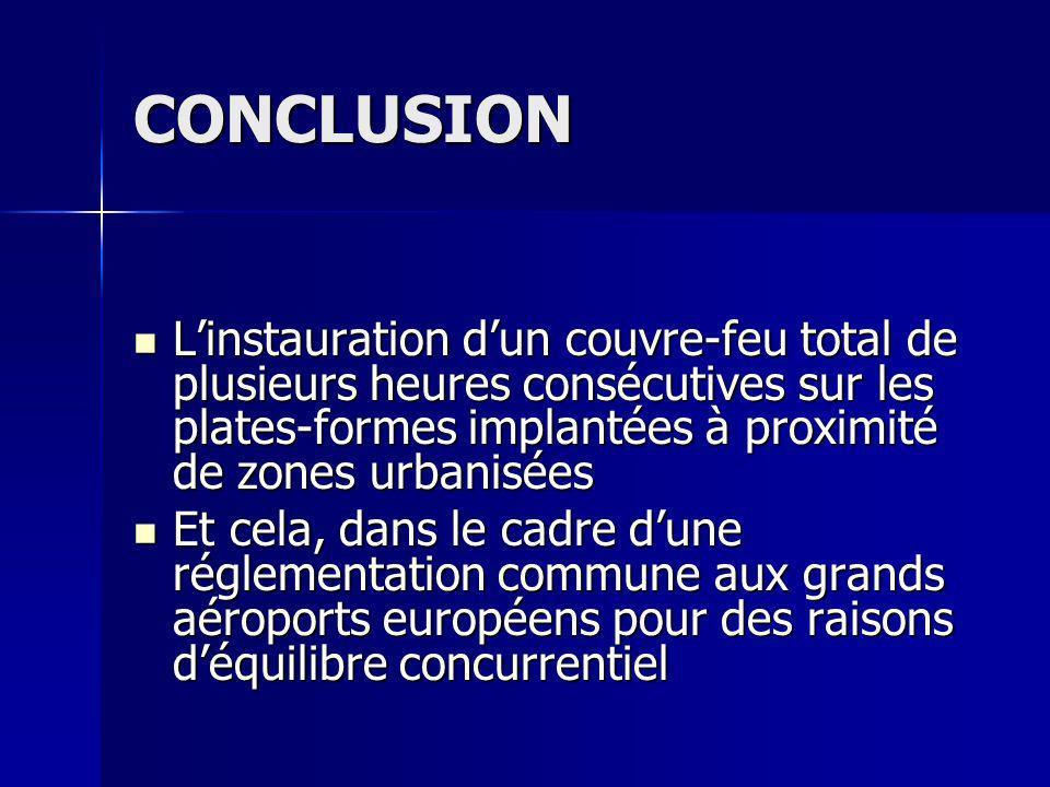 CONCLUSION L'instauration d'un couvre-feu total de plusieurs heures consécutives sur les plates-formes implantées à proximité de zones urbanisées.