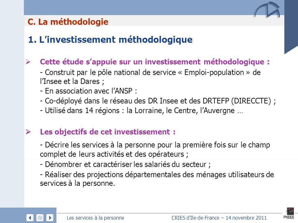 C. La méthodologie 1. L'investissement méthodologique. Cette étude s'appuie sur un investissement méthodologique :