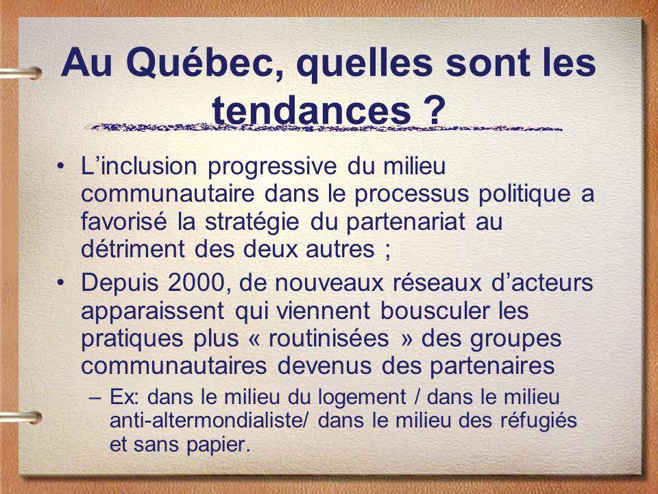 Au Québec, quelles sont les tendances