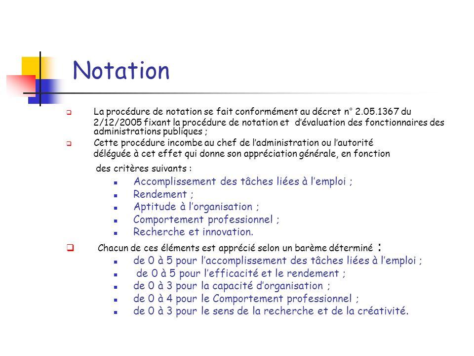 Notation La procédure de notation se fait conformément au décret n° 2.05.1367 du.