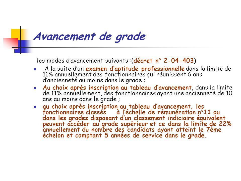 les modes d'avancement suivants :(décret n° 2-04-403)