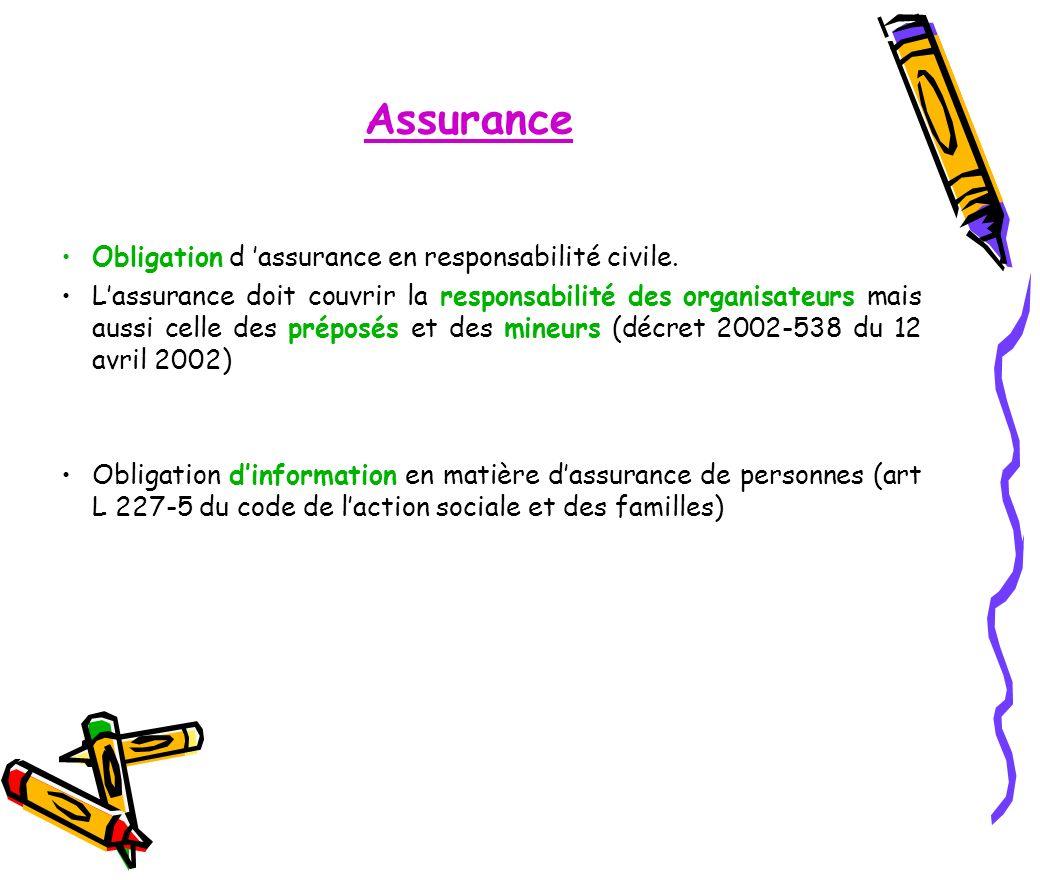 Assurance Obligation d 'assurance en responsabilité civile.