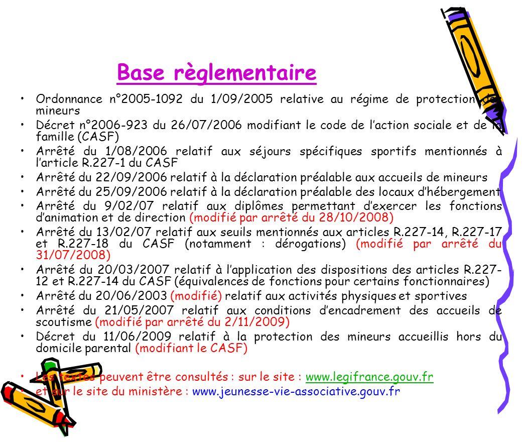 Base règlementaire Ordonnance n°2005-1092 du 1/09/2005 relative au régime de protection des mineurs.