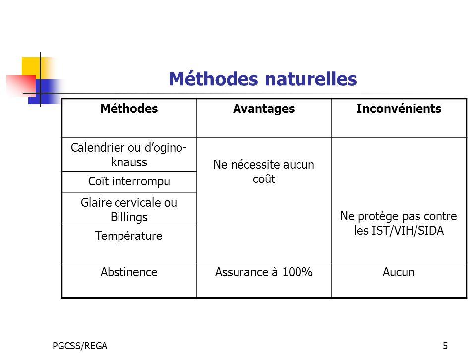 Méthodes naturelles Méthodes Avantages Inconvénients