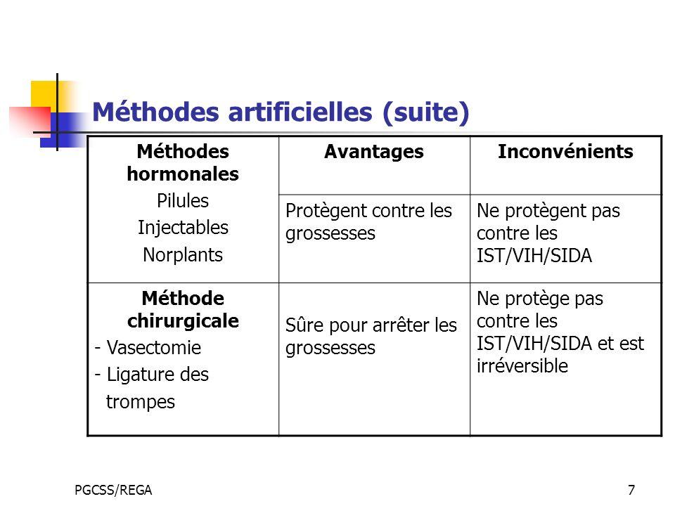 Méthodes artificielles (suite)