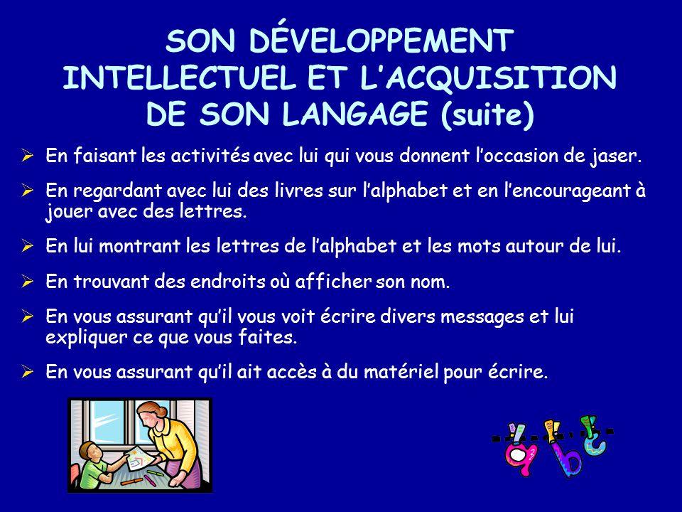 SON DÉVELOPPEMENT INTELLECTUEL ET L'ACQUISITION DE SON LANGAGE (suite)